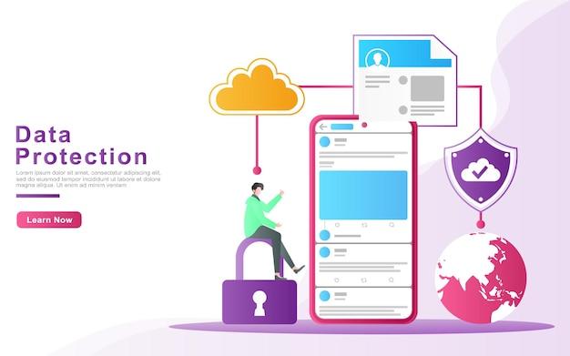 Concetto di illustrazione di protezione cloud e sicurezza dei dati per gli utenti dei social media in tutto il mondo.