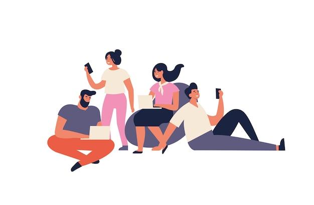 Concetto di illustrazione per lo spazio di co-working. giovani liberi professionisti che lavorano su laptop