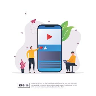 Illustrazione del concetto di contenuto con un uomo appoggiato accanto a uno smartphone.