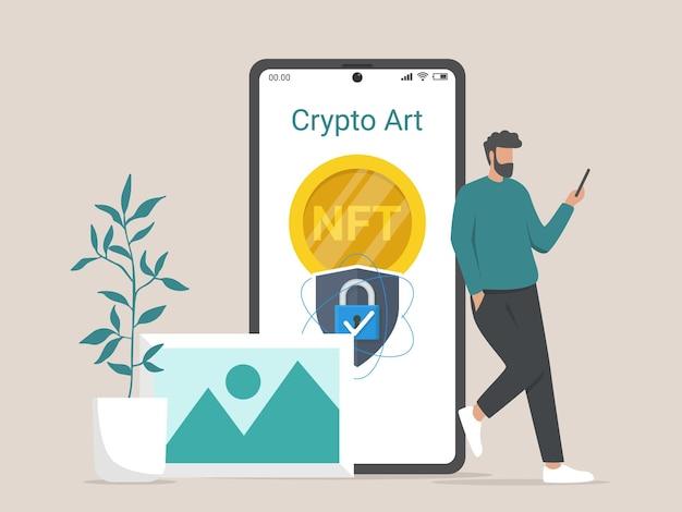 Concetto di illustrazione della conversione di opere d'arte in token ntf digitali