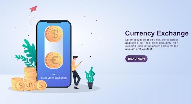 Concetto di illustrazione del cambio di valuta facendo scorrere lo schermo per cambiare denaro.