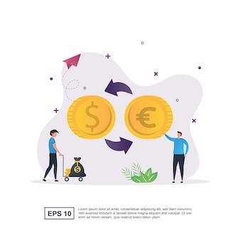 Concetto dell'illustrazione del cambio di valuta con un uomo che tiene le monete da scambiare.