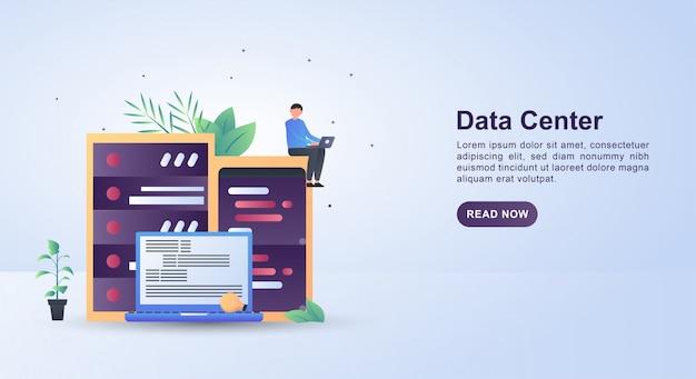 Concetto dell'illustrazione del centro dati con i grandi server come centri dati.