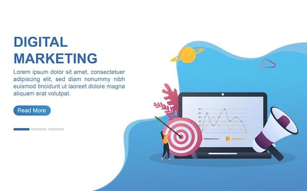 Concetto di illustrazione del marketing digitale con il diagramma sullo schermo e la persona che tiene il bersaglio.