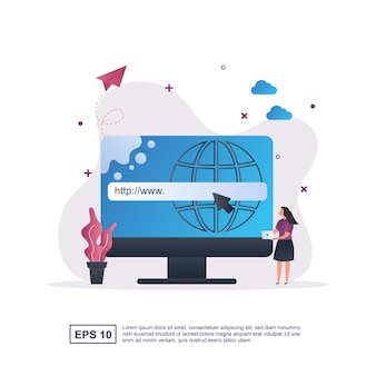 Concetto dell'illustrazione del dominio con la persona che tiene il computer portatile.