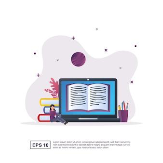 Concetto di illustrazione di e-learning con persone che leggono libri online su laptop.