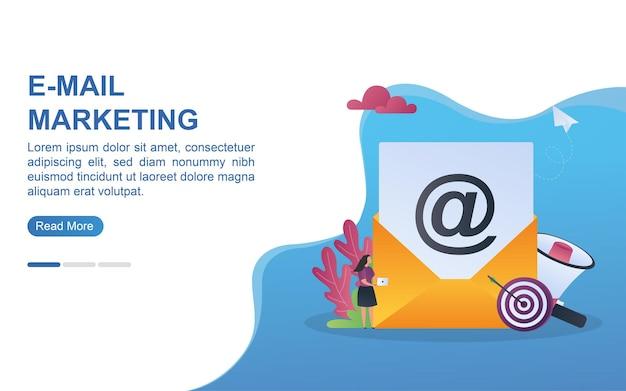 Concetto di illustrazione di marketing e-mail con obiettivo dan megafono.