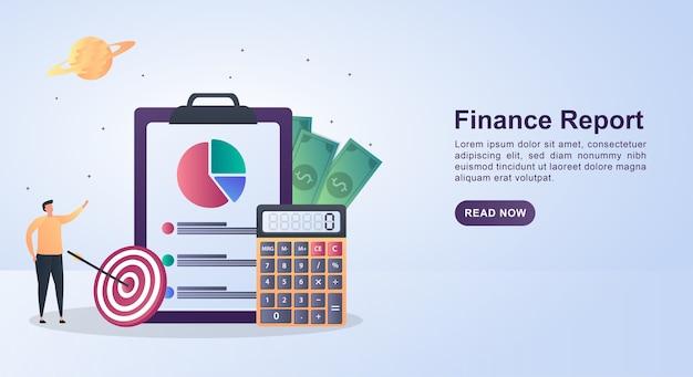 Illustrazione del concetto di relazione finanziaria con rapporti cartacei di grandi dimensioni e calcolatrici.