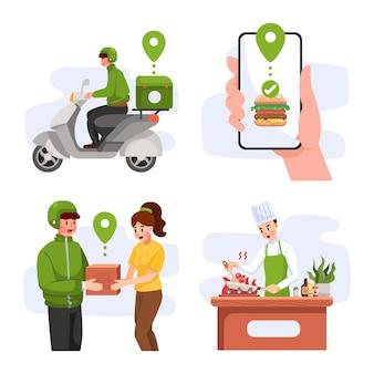 Concetto dell'illustrazione del concetto di elaborazione di consegna del cibo