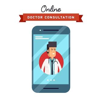 Illustrazione del concetto di telefono cellulare forma design con assistenza medica maschile e medico