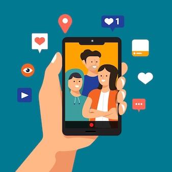Smartphone della stretta della mano di concetto dell'illustrazione