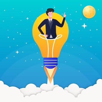 Lancio del razzo della lampadina di concetto dell'illustrazione