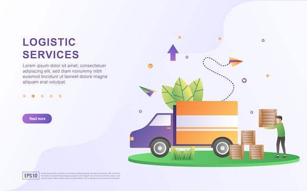 Il concetto di illustrazione del servizio logistico viene consegnato in modo rapido e sicuro.