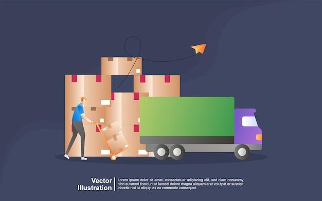Concetto dell'illustrazione di distribuzione di logistica. consegna a domicilio e in ufficio. logistica della città.