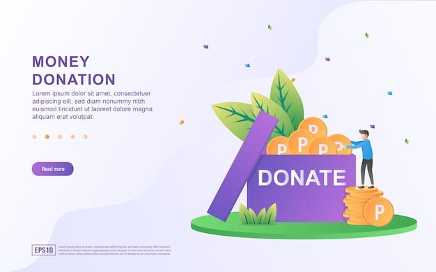 Illustrazione concetto di donazione di denaro con una casella di donazione contenente monete.