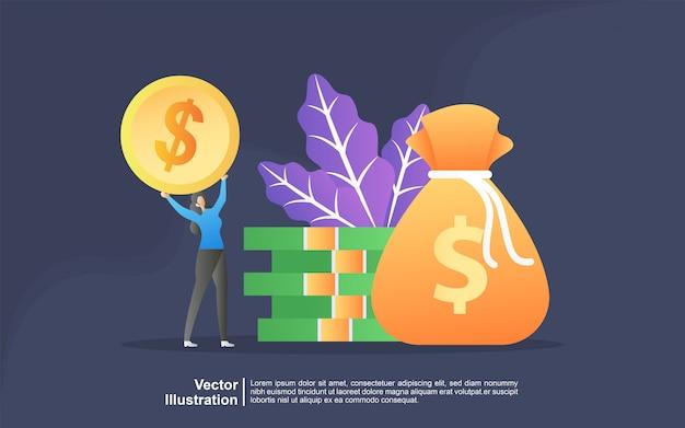 Concetto dell'illustrazione di trasferimento di denaro da e verso il portafoglio. risparmio finanziario o concetto di economia.