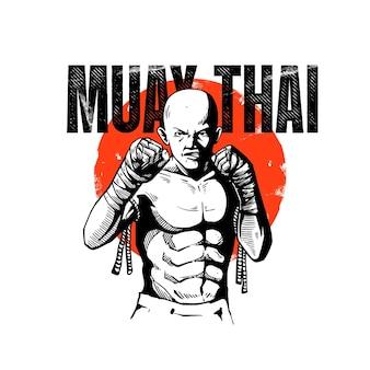 Concetto di illustrazione di arti marziali muay thai