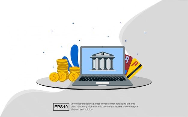 Concetto dell'illustrazione di attività bancarie online
