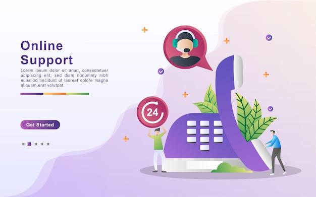 Concetto di illustrazione di supporto online, assistenza clienti