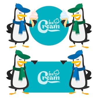 Illustrazione, concetto pinguini e gelato, formato eps 10