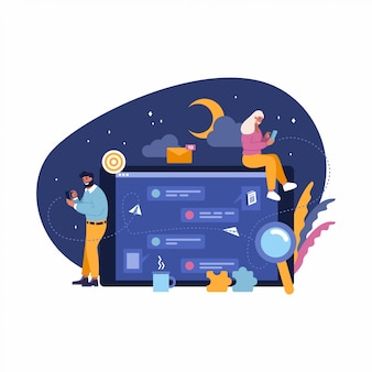 Illustrazione, concetto di comunicazione di persone con cellulari, chat virtuale di notte, relazione.