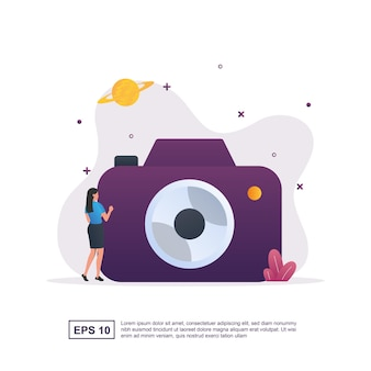 Illustrazione concetto di fotografia con una grande macchina fotografica.
