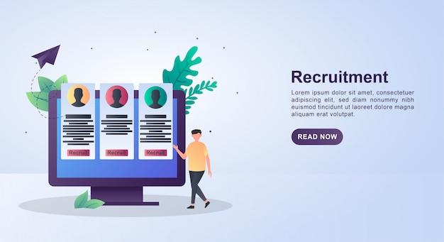 Concetto di illustrazione dell'agenzia di reclutamento per cercare nuovi candidati in qualsiasi campo.