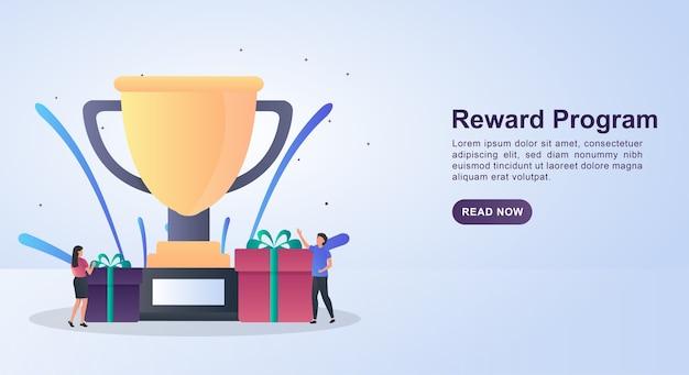 Concetto di illustrazione del programma di ricompensa con grandi trofei e diversi premi.
