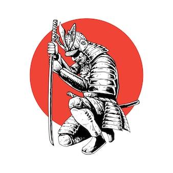 Concetto di illustrazione del guerriero samurai