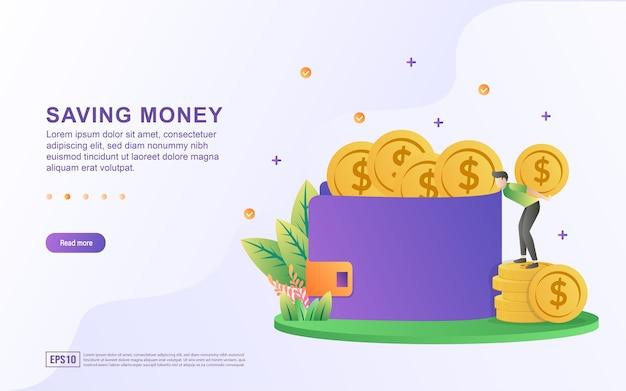 Illustrazione concetto di risparmio di denaro e metterlo nella casella per banner