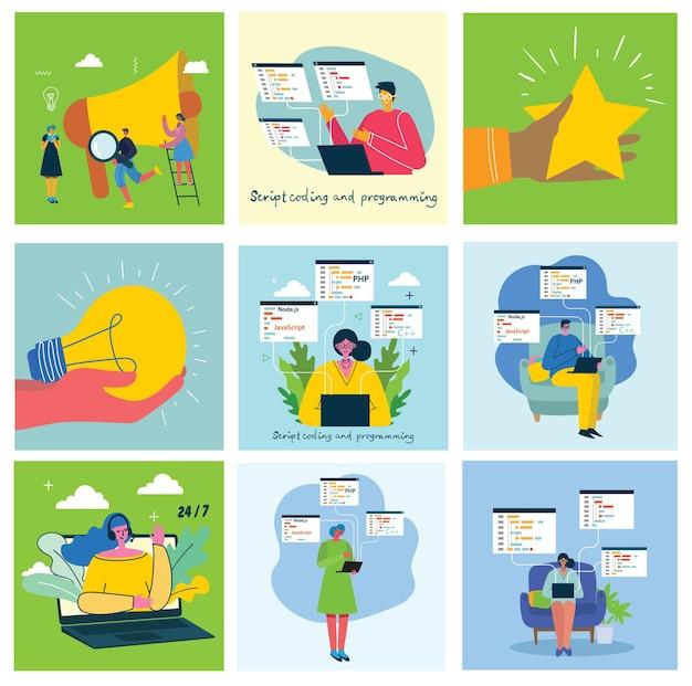 Illustrazione del concetto di lavoro di squadra, affari e sfondi di progettazione di avvio.