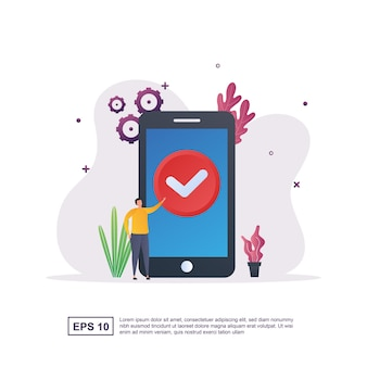 Illustrazione del concetto di aggiornamento eseguito con la persona che fa clic sul segno di completamento dell'aggiornamento sullo schermo.