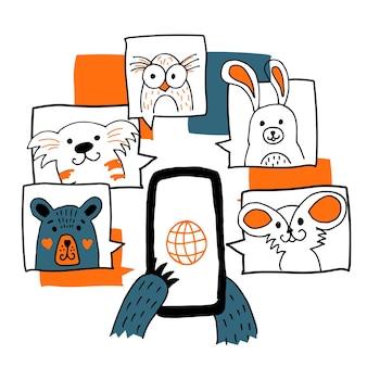 Il concetto dell'illustrazione della videoconferenza online riunione forma lavoro orso domestico che chiama la mano online