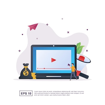 Concetto di illustrazione del video marketing con un sacco di soldi e un megafono.