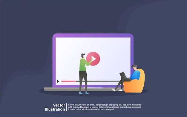 Concetto dell'illustrazione di streaming video. le persone riproducono video online, film, film. può usare per, landing page, template, interfaccia utente, web, app mobile, banner