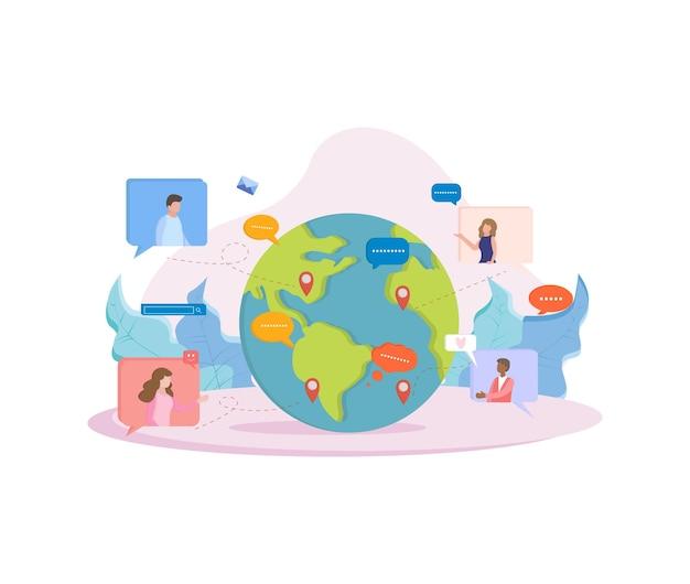 Concetto di illustrazione con rete sociale e illustrazione del lavoro di squadra
