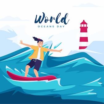 Concetto di illustrazione per la giornata mondiale dell'oceano con il personaggio di un surfista che naviga sulle grandi onde