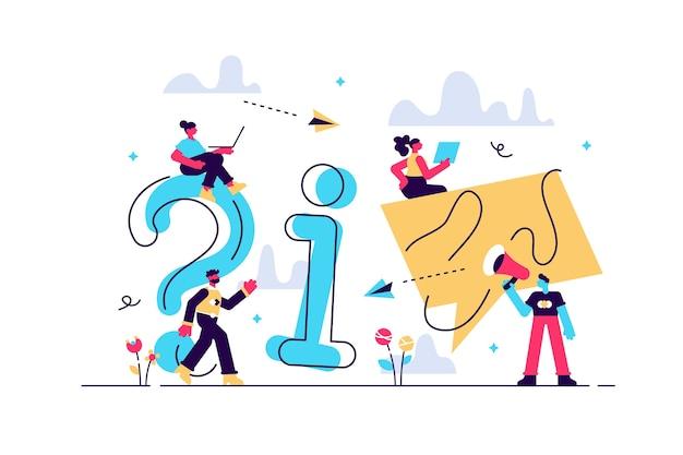 Illustrazione illustrazione concettuale della comunicazione online di persone ottenendo informazioni di aiuto rispondendo alle domande