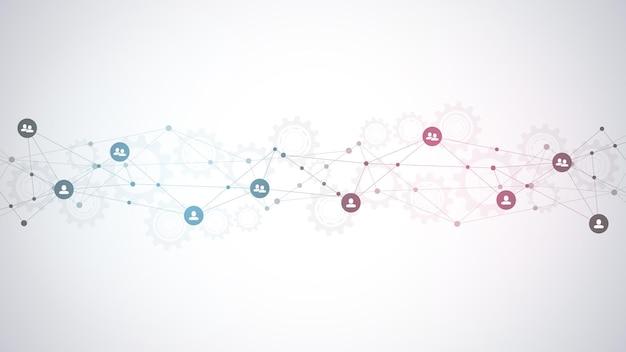 Illustrazione del collegamento di persone e concetto di comunicazione, social network.