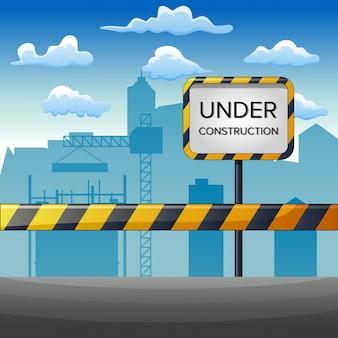 Illustrazione del sito in costruzione con costruzione Vettore Premium