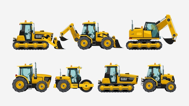 Illustrazione del colore giallo dei veicoli dei trattori della costruzione impostato realistico isolato su bianco