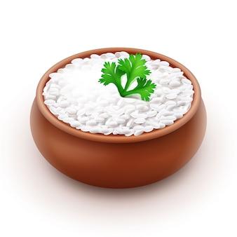 Illustrazione di riso bianco cotto con prezzemolo in una ciotola di terracotta su sfondo bianco