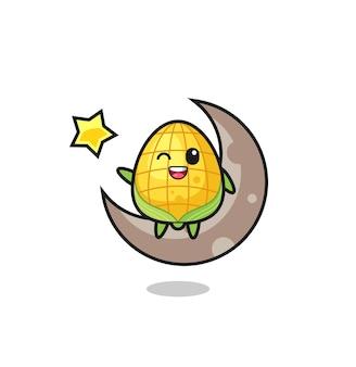 Illustrazione del fumetto di mais seduto sulla mezza luna, design in stile carino per maglietta, adesivo, elemento logo