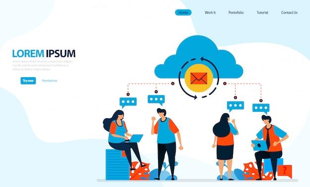 Illustrazione di potrebbe ricaricare. persone che discutono e registrano nel cloud computing, inviando e-mail di gruppo.