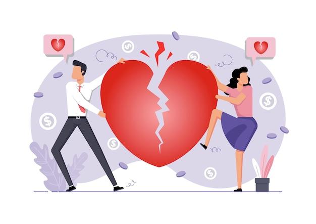 Un'illustrazione della coppia e del divorzio del cuore spezzato