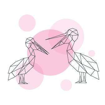 Illustrazione di coppia pellicani carini in stile geometrico
