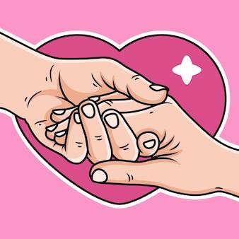 Illustrazione di coppia mani cartoon. illustrazione di amore