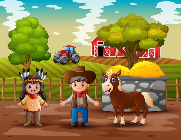 Illustrazione di cowboy e cowgirl nella fattoria