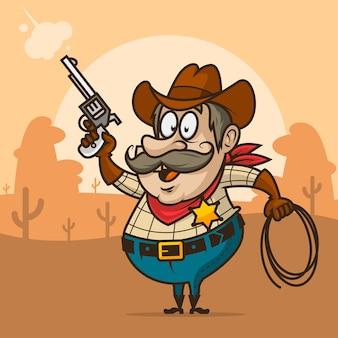Illustrazione, sceriffo cowboy spara dalla pistola e sorride, formato eps 10