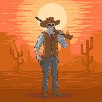 Illustrazione teschio da cowboy nel deserto del texas